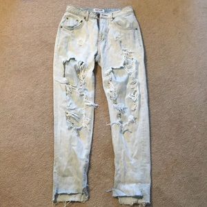 One teaspoon destroyed light wash jeans